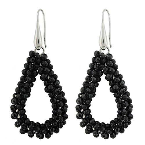 Coiris New Elegant Handmade Glass Beads Dangle Earrings For Women Teardrop Earrings (ER1143-Black)