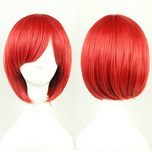 Short Red Bob Wig Straight Wigs for Women Wigs with Oblique Bangs 11 Inch BU029R]()