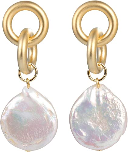 White Baroque coin freshwater cultured pearl earrings.