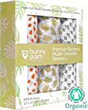 Organic Muslin Bamboo Swaddle Blanket - Newborn Boys and Girls Soft Receiving Baby Swaddling Blankets - Set of 3 by Bunny Palm - Large - Unisex Infant Toddler - 47 x 47 inch - Best Baby Shower Gift
