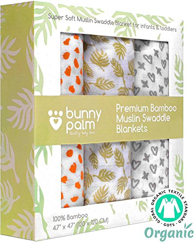 Organic Muslin Bamboo Swaddle Blanket - Newborn Boys and Girls Soft Receiving Baby Swaddling Blankets - Set of 3 by Bunny Palm - Large - Unisex Infant Toddler - 47 (Organic Swaddle Blanket)