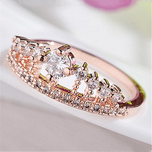 1fd126466ddb6 Lethez Womens Ring Gold Pretty Crown Ring Lady Crystal Ring Princess Ring  Engagement Wedding Ring Jewelry (Rose Gold, 6)