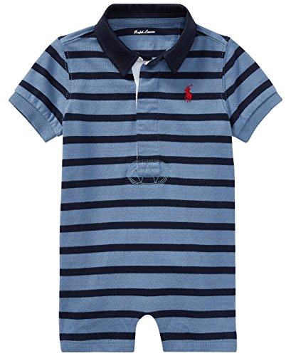 Ralph Lauren Baby Boys Shortalls Bodysuit Striped Smooth Cotton (Capri Blue / Hunter Navy, 3 - 3 Months Lauren 0 Ralph