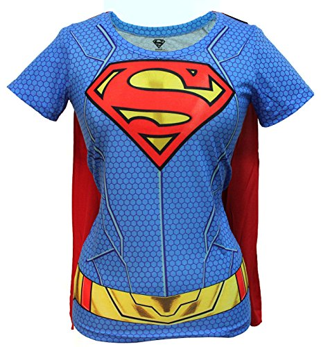 Bioworld Juniors: Supergirl- Costume Tee with Cape Juniors (Slim) T-Shirt Blue, Red -