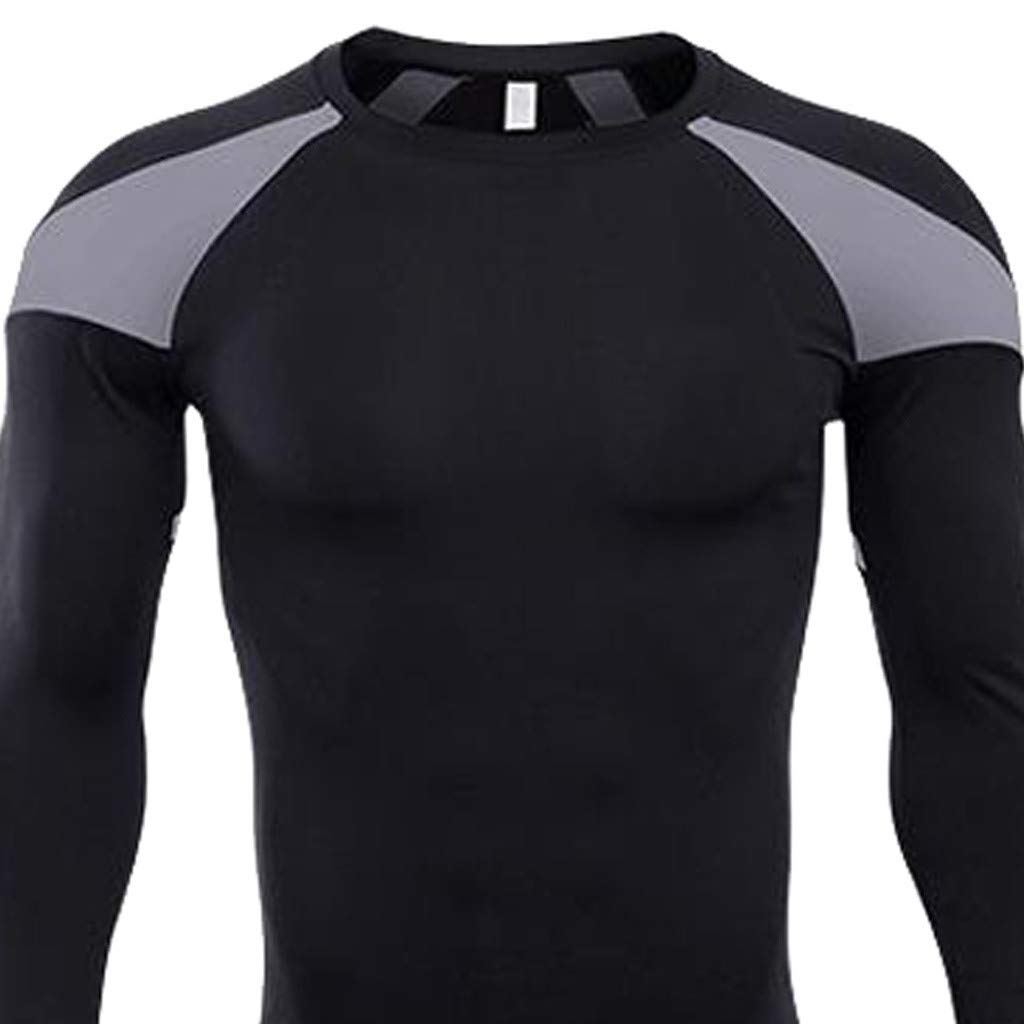 Lavento Men/'s Compression Shirts Baselayer Crewneck Long-sleeve Dry Fit T-shirts
