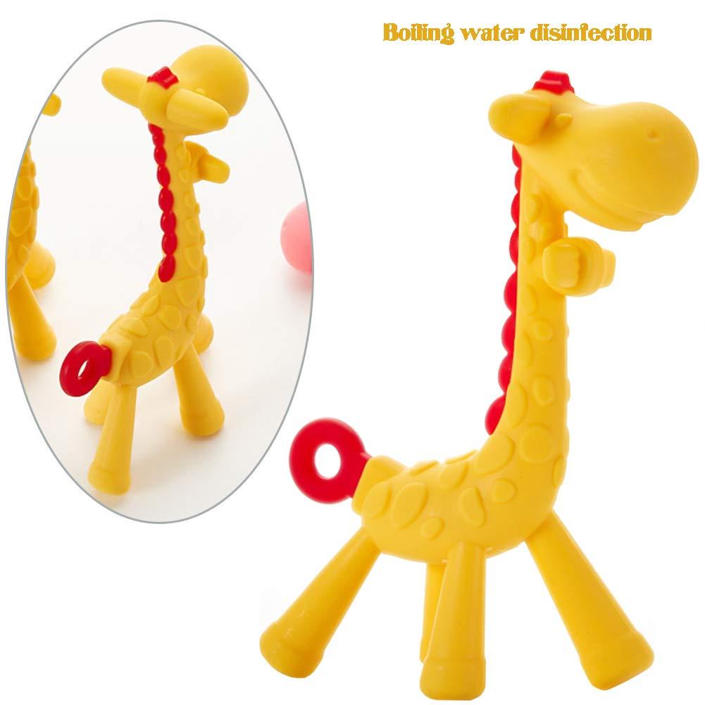 Alivio dentici/ón jirafa del beb/é Mordedor Juguete de silicona beb/é Mordedor textura Juguetes para ni/ños linda Chew para Ni/ños Ni/ñas amarillo 1PC
