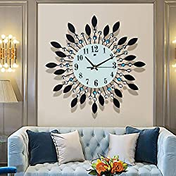YINASI Metal Large Wall Clock, Retro Oversized 14.17 Inch Crystal Leaf Clock HD Glass Dial with Arabic Numerals, Silent Quartz Hanging Clock Suitable for Living Room, Bedroom, Office Space,Entrance