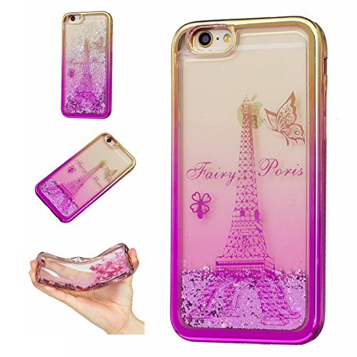 iPhone 5S Case,iPhone SE Case,Gift_Source Funny Flowing Liquid Quicksand Floating Bling Glitter Soft Rubber Case Plating Frame Clear Back Cover TPU Gel Bumper Cases For iPhone SE/5/5s [Paris Tower]
