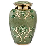 Beautiful Life Urns Green Garden Adult Cremation Urn - Exquisite Brass Funeral Urn Etched with Gold Flowers (Large)