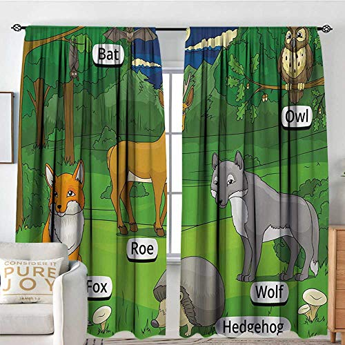 Prairie Velvet Natural Fabric - Petpany Bedroom Blackout Curtain Panels Educational,Forest with Cartoon Animals with Names Educational Intellectual Fun Kids Game,Multicolor,All Season Thermal Insulated Solid Room Drapes 54
