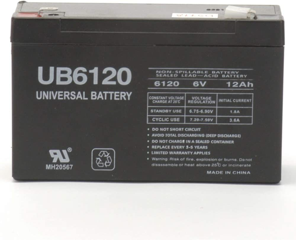 Universal Power Group 6V 12Ah F2 SLA Battery Replaces Zareba 10 Mile Solar Charger