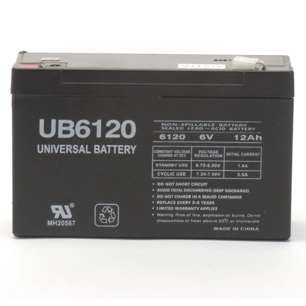 6 Volt 12 Amp Hour UB6120 Sealed Lead Acid Battery Replacement with F2 Terminals by UPG D5778