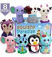 POKONBOY Jumbo Squishies Slow Rising, 8 Pack Animal Squishy Toys Cream Scented Squishies Pack Str...