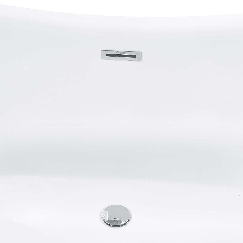 67 Inch Glossy Gold Acrylic Tub for Bathroom Comfortable Curved Design Modern and Elegant Style Luxurious SPA Soaking Flat Bottom Stand Alone Bathtub AKDY Freestanding Bathtub