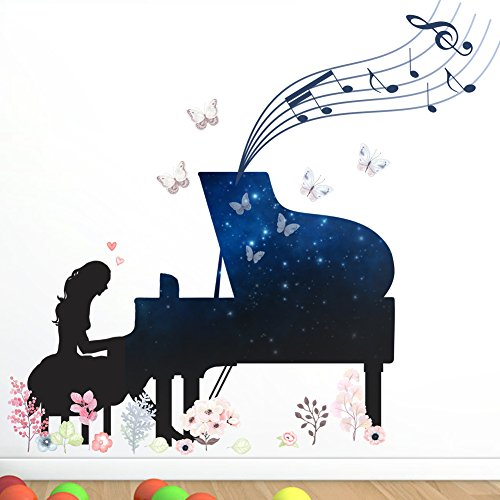 Letitia Matthew Girls Playing Piano Wall Stickers Musical Notes Butterfly Decals Blue for Kids Bedroom 77×71 cm, Removable, PVC