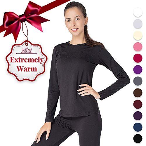 Thermal Underwear for Women Long Johns Set Fleece Lined Ultra Soft Black X-Large