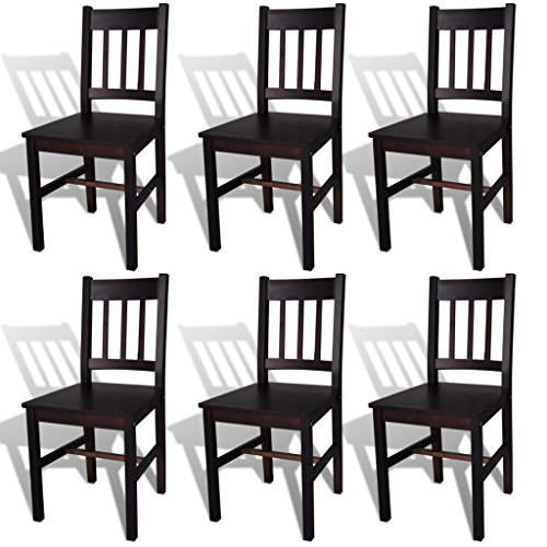 SKB family 6 pcs Brown Wood Dining Chair (Stacking Hutch Mahogany)