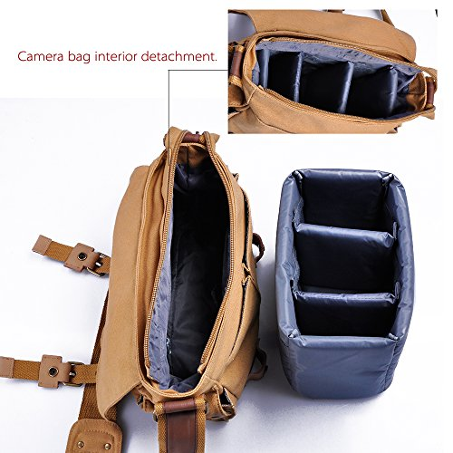 Canvas Camera Sling Bag DSLR SLR Camera Bag Travel Outdoor Vintage Camera Messenger Bag for Canon Sony Nikon