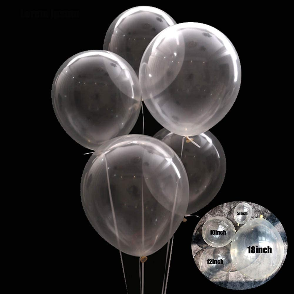 Aimto Clear Balloons Transparent Party Balloons clear bubble balloons for Water Beads party,5 Inch–Pack of 100