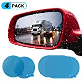 KATUMO Car Rear View Mirror Film, Rainproof & Anti-Glare Side Mirror Window Protector Film, Anti- Fog Anti-Scratch Clear Car Rearview Mirror Accessories, Pack of 4