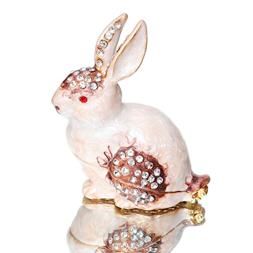 (Waltz&F Trinket Box rabbit Hinged Hand-painted Figurine Collectible Ring Holder with Gift Box)