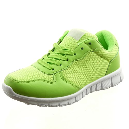 Sopily - Chaussure Mode Baskets Bi-matière Cheville femmes Talon bloc 2.5 CM - Vert