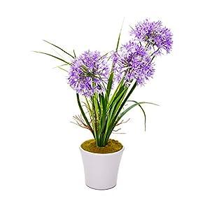 """Faux Fiore Violet Allium - White Pot - Faux Plants - 14"""" - 12ct Box - Restaurantware 72"""