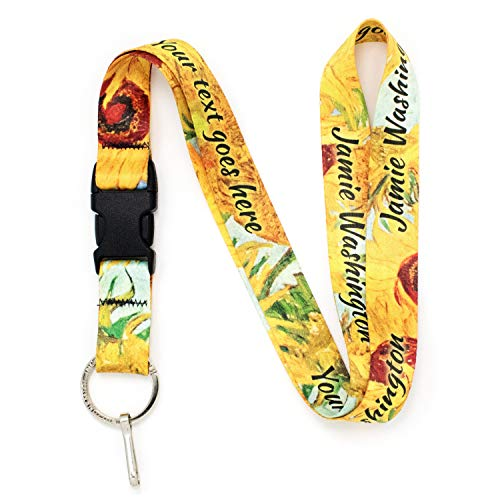 Buttonsmith Van Gogh Sunflowers Custom Lanyard - Customize with Your Text - Buckle and Flat Ring - Made in The USA