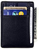 #7: DEEZOMO RFID Blocking Genuine Leather Credit Card Holder Front Pocket Wallet With ID Card Window