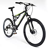 Muddyfox 26' Livewire Full Suspension Bike - Mens - Black and Green. (MO17171-BIKE)