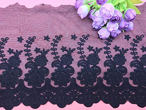 21CM Width Europe Rose Wedding Applique Inelastic Embroidery Lace Trim,Curtain Tablecloth Slipcover Bridal DIY Clothing/Accessories.(2 Yards in one Package) (Black)