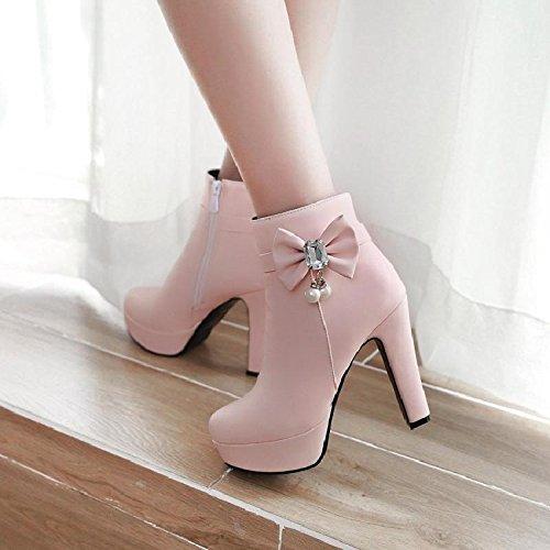 E Grossolana Di Stivali L'Inverno E Strass Arco Pink Col Parte KHSKX Impermeabile L'Autunno Con Amore Tacco Alto Degli Stivali W4cHByt5