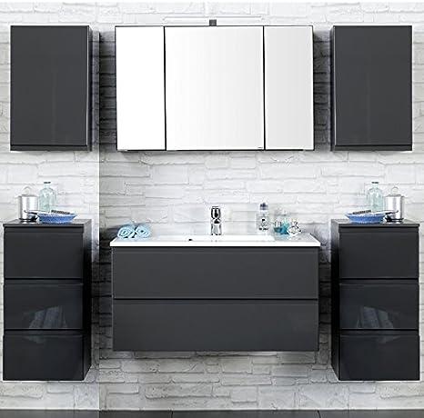Badezimmer Set Como 03 4 Teilig Hochglanz Grau 100cm Waschtisch Badmobel Waschtisch Badezimmermobel Led Spiegelschrank Waschplatz Badezimmerschranke Amazon De Kuche Haushalt
