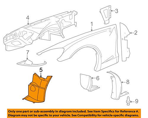 General Motors Chevrolet GM OEM 06-13 Corvette-Front Fender Liner Splash Shield Left 15834373