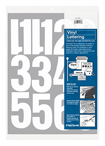 Chartpak Self-Adhesive Vinyl Numbers, 4 Inches High, White, 23 per Pack (01196) (White Vinyl High)