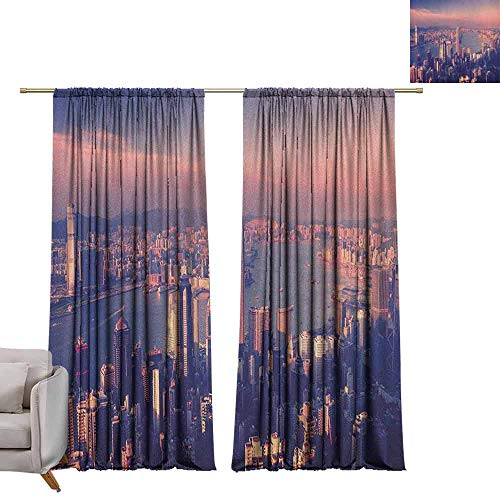 Blackout Bedroom Curtain City,Dreamy View of Chinese City Hong Kong Urban Scene Concept Victoria Harbor, Pale Pink Night Blue W72 x L96 Grommet Drapes