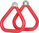 Swing Set Stuff Commercial Coated Triangle Trapeze Rings with SSS Logo Sticker, Red