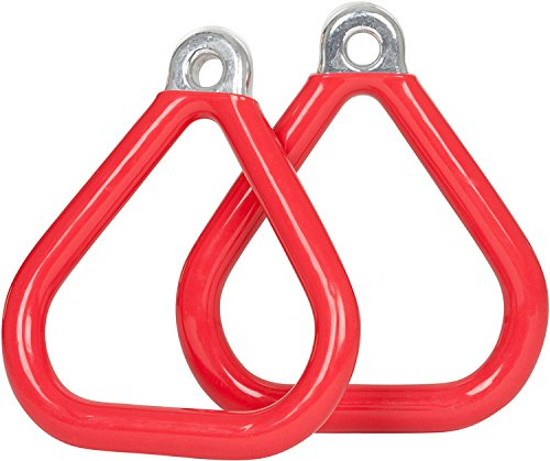 (Red) - Commercial Coated Triangle Trapeze Rings (Pair) (Red) with SSS logo Sticker B001VY1Y8G レッド