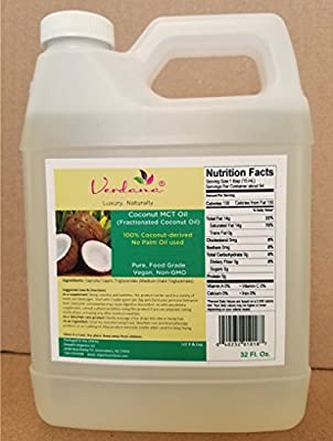 Organic Verdana Coconut MCT Oil - aka Fractionated Coconut Oil - 32 Fl Oz -- 100% from Organic Coconuts - No Palm oil involved - Premium Food Grade - Pure, True MCT with only C8 and C10, No C12
