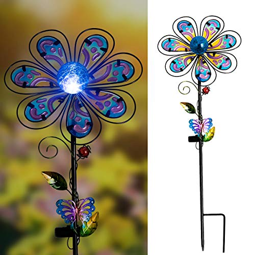 Flower Yard Decor - Solpex Solar Garden Stake Outdoor with Cracked Glass LED Light Colorful Mental Coat Flower for Patio, Lawn and Yard Art Décor