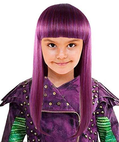Womens Straight Purple Fancy Wig for Kids HW-1418