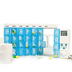 Lauco Weekly Digital Pill Organizer, 7 Days 28 Compartments Medicine Box with 5 Groups Alarm Reminder and Luminous LCD Back-light for Medications, Supplements, Vitamins - Blue