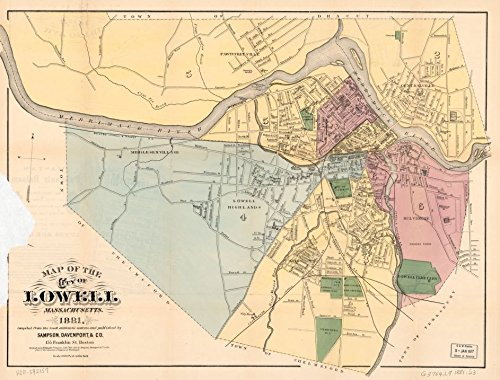 24 x 18 Reprinted Old Vintage Antique Map of: c.1981 Map of The City of Lowell, Massachusetts m4741 by Vintography
