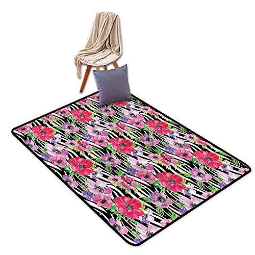 Indoor/Outdoor Rug,Zebra Print Tropical Flowers Garden,Anti-Slip Doormat Footpad Machine Washable,3'11