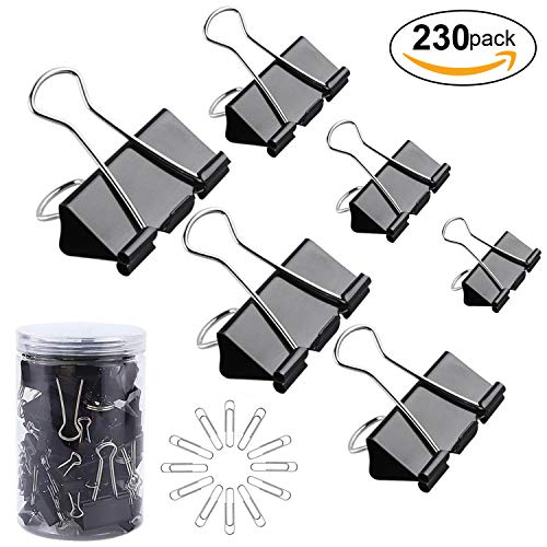 130 Pc Assorted Size Binder Clips + [100 Bonus Paper Clips] - 6 Sizes Paper Clamp - Sturdy Container Included (Black) (Metal Black Clips)