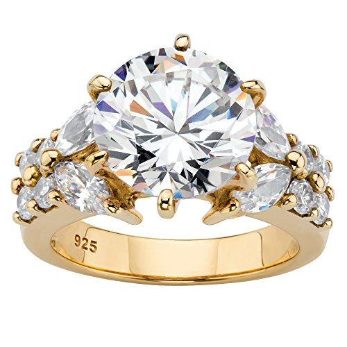 Gold Kite 14k (14K Yellow Gold over Sterling Silver Round Cubic Zirconia Engagement Anniversary Ring Size 7)
