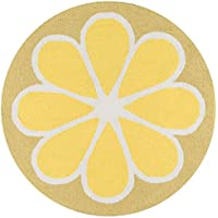 Novogratz by Momeni Rugs CUCINCNA-1YEL300R Cucina Lemon Kitchen Mat, 3 x 3 Round, Yellow