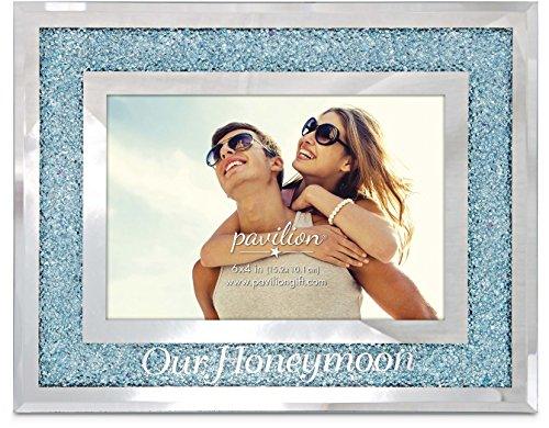 (Pavilion Gift Company 85117 Glorious Occasions - Our Honeymoon Blue Crystal Mirrored 4x6 Picture Frame,)