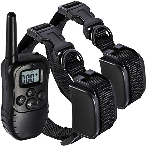 (OxGord Rechargeable Waterproof LCD 100LV Shock Two Pet Remotes Training Collar, 330 yd)