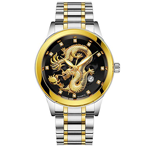 SSYUNO Mens Gold Dragon Sculpture Quartz Watch Luxury Brilliant Steel Waterproof Wristwatch